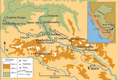 Map of the Urubamba Valley and Machu Picchu Area