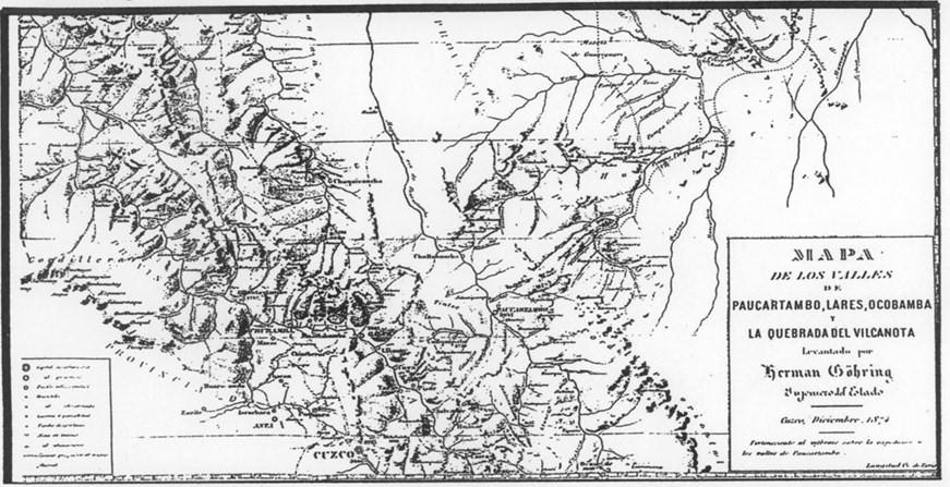 Herman Gohring's map of Urubamba Valley & Machu Picchu Area, 1874