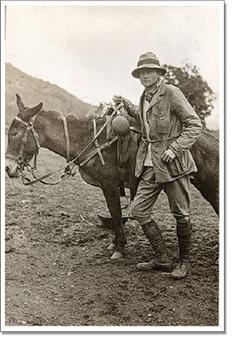 Hiram Bingham with mule