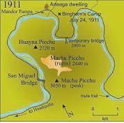 Map of Machu Picchu area in 1911, when Hiram Bingham first arrived