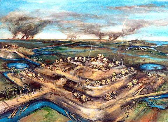 An artist's conception of life on raised mounds amid the Llanos de Mojos, Bolivia, around the time of Christ
