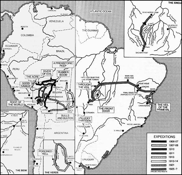 A map of Percy Harrison Fawcett's various expeditions to South America