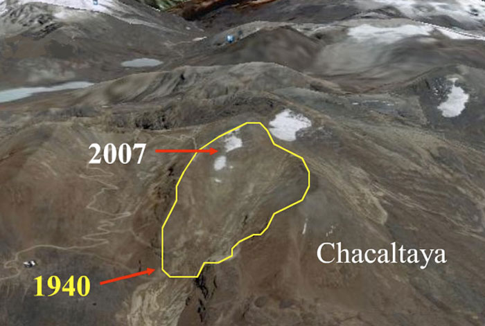 An aerial view of the retreating Chalcataya glacier in the Bolivian Andes