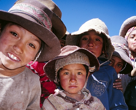 Farm children in the Peruvian Andes