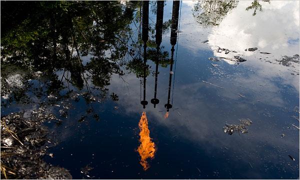 Pool of oil in Lagros, Ecuador from Texaco