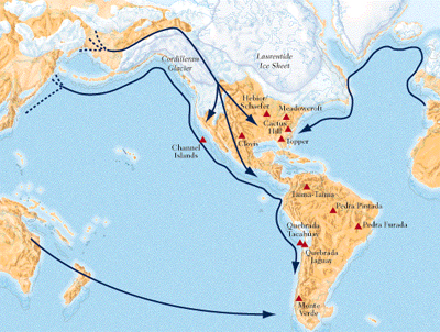 Map Showing Theories of How People Migrated to the New World
