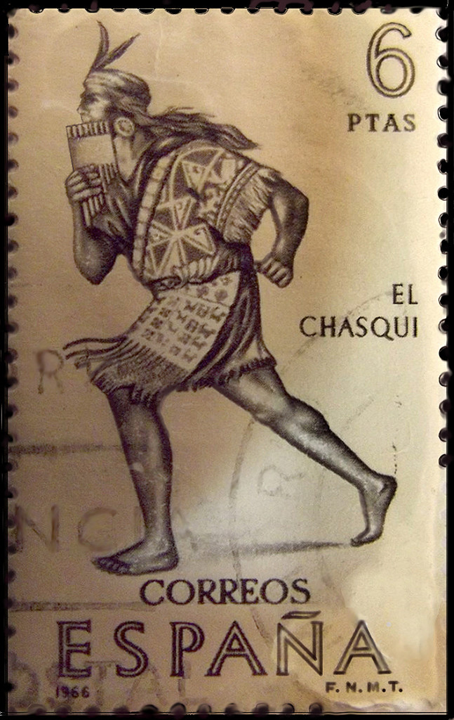 chasqui runner on Spanish postal stamp