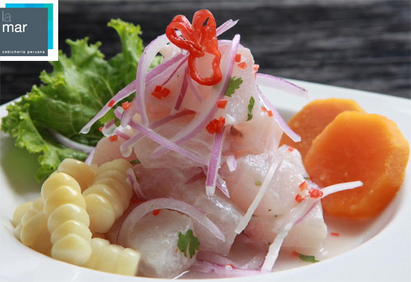 A plate of classically prepared ceviche--raw fish marinated in lemon juice at Gastón Acurio's La Mar restaurant in Lima