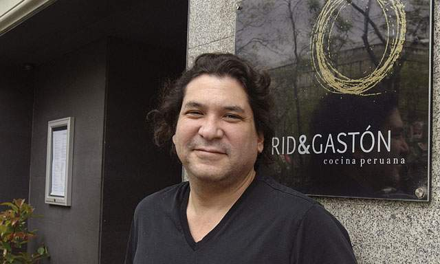 Master chef Gastón Acurio in front of his flag-ship restaurant, Astrid & Gastón in Lima, Peru